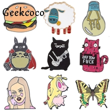 J1188 Geekcoco Cartoon Cat Animals Pin Brooches Girls Badges Lapel Pins Funny Jewelry Pins Collection j1221 geekcoco cartoon cat animals pin brooches anime doraemon badges lapel pins funny jewelry pins collection