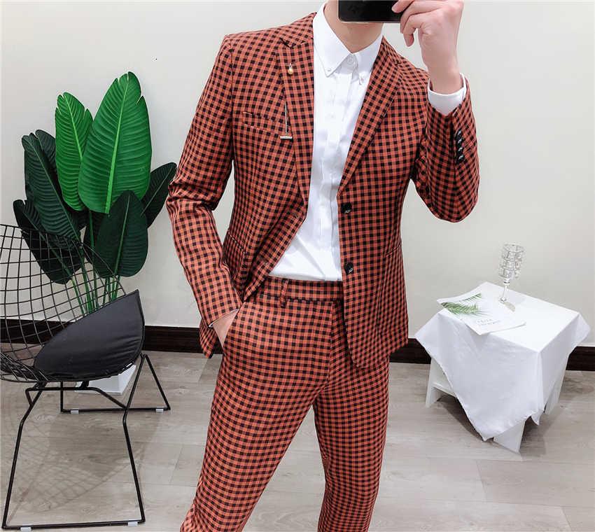 Chaquetas de esmoquin Vintage estilo británico a cuadros para hombre trajes de boda casuales a cuadros trajes de pecho único trajes de negocios para hombres ajuste Delgado