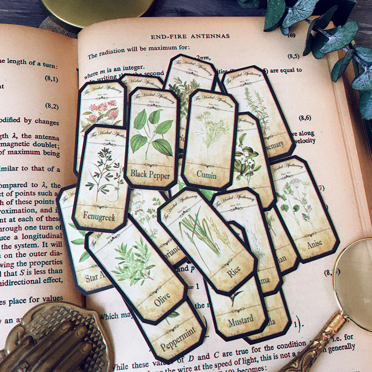 KSCRAFT 20pcs Vintage Plants English Stickers For Scrapbooking Happy Planner/Cardmaking/Journaling Project