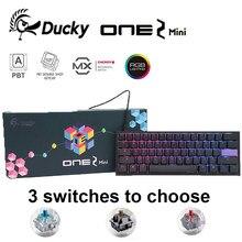 Ördek One 2 Mini v2 RGB LED 60% çift atış PBT mekanik klavye oyun klavyesi, kiraz MX anahtarı % 100% orijinal