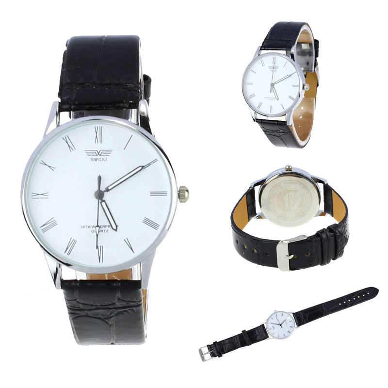 Man watch Classic Mens Roman Number Quartz Electronic Leather Wrist Watch White Casual Male Clock Wristwatches relogio masculino