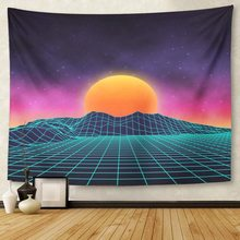 Futuristic Retro Landscape of The 80 S Sun with Mountains in Style Digital Cyber Suitable 1980