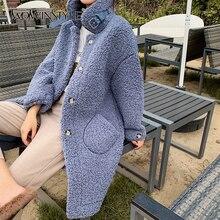 TWOTWINSTYLE зимнее пальто из овечьей шерсти для женщин воротник с лацканами длинный рукав плюс толстое теплое Женское пальто модная одежда Новинка
