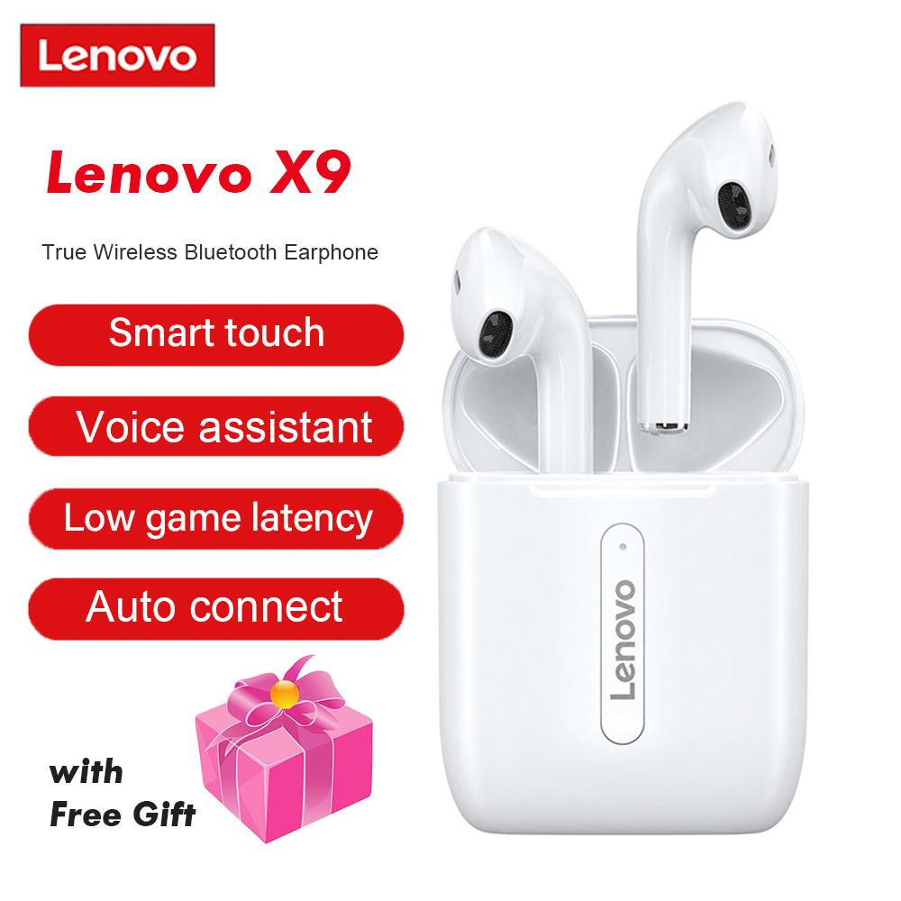 Lenovo X9 Bluetooth 5,0 беспроводные наушники TWS наушники с сенсорным управлением спортивная Гарнитура Bluetooth с защитой от пота наушники-вкладыши с мик...