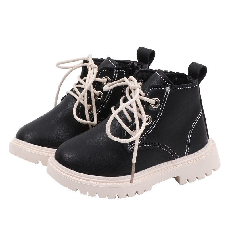 Autumn Children Casual Leather Martins Boots Baby Girls Boys Lace-Up Shoes Walking Shoe