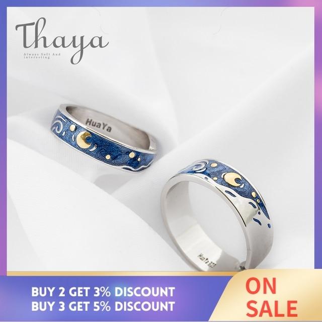 Thaya Van Gogh's Enamel couple rings Sky Star moon s925 silver Glitter Rings Engagement Ring Wedding Jewelry For Women 1