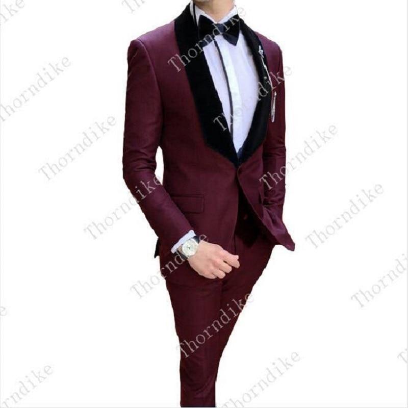 Erkek Kıyafeti'ten T. Elbise'de Yakışıklı Erkek Örgün Smokin Takım Elbise Düğün Için Iş Bir Düğme Şal Yaka En Iyi Erkek Damat Erkek Düğün Smokin Custom Made'da  Grup 1