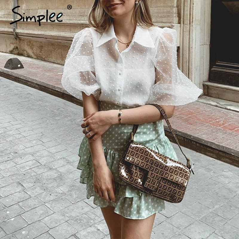 Simplee Women Elegant Mesh White Chiffon Blouse Long Sleeve Buttons Blouses And Tops Fasion Office Ladies Plus Size Blouse Shirt
