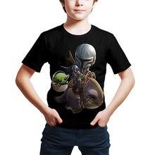 Disney bebê yoda gráfico t camisas para meninos mandalorian criança grogu impressão 3d crianças meninos meninas camisas curtas roupas engraçadas camisetas