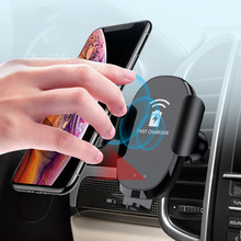 Wireless Car Charger With Infrared Sensor Automatic Qi Fast Charging For iPhone XR XS MAX Huawei Mate 20 Pro Car Phone Holder