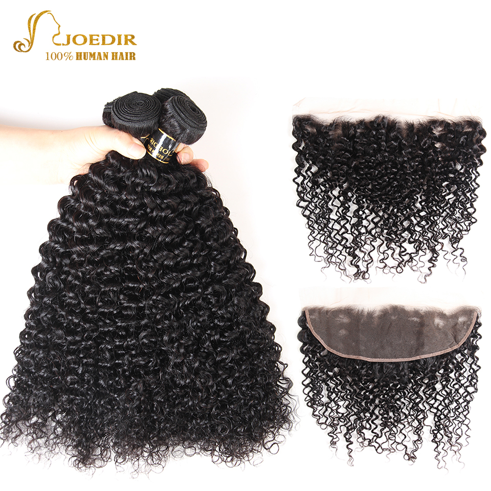 Joedir Hair Brazilian Afro Kinky Curly Hair Bundles With Frontal Human Hair Bundles With Frontal Curly Bundles With Frontal