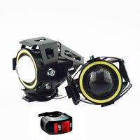 Moto rcycle u7 conduziu a condução da lâmpada de nevoeiro trabalho farol moto rbike 3000lm condução luzes auxiliares moto spotlight farol|  -