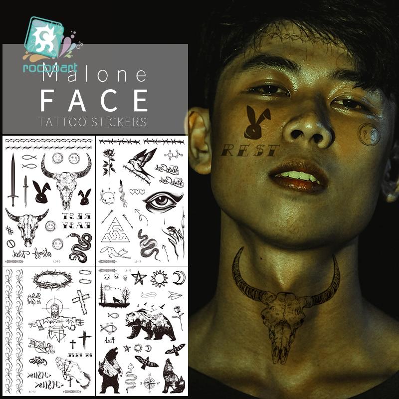 Big Size Malone Tattoo Bull Head Face Sticker Men Neck Hand Back Cool Body Art Temporary Tattoo Sticker Sword Letter Tatoo