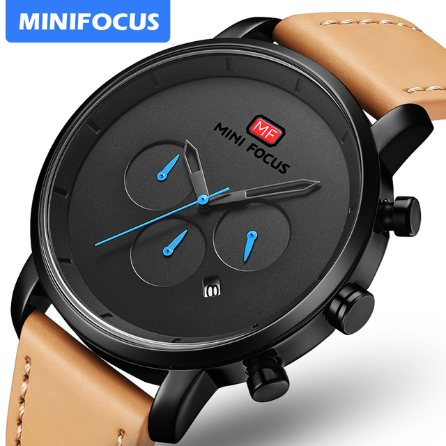 นาฬิกาแฟชั่นผู้ชายอเนกประสงค์ Dial Sub Multi Function Slim นาฬิกาผู้ชายหนังนาฬิกาสายรัดข้อมือ Relogio Masculino