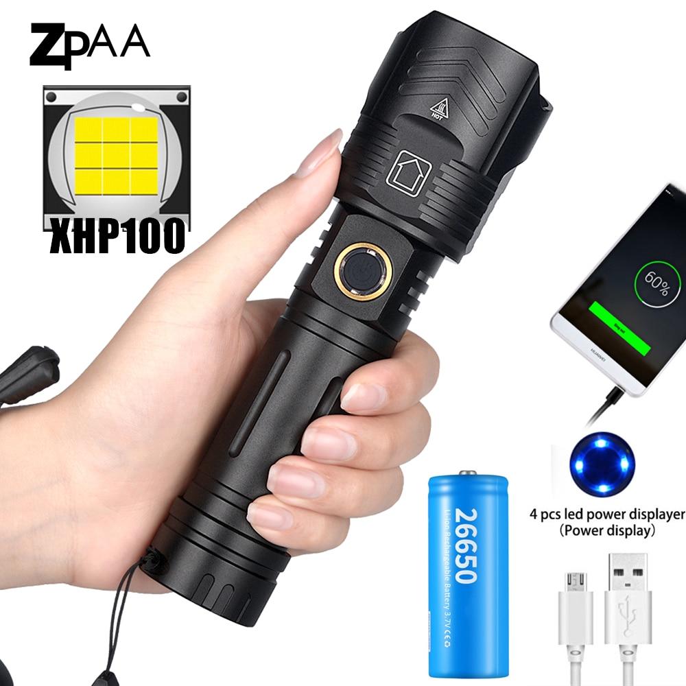 Super brilhante xhp100 xhp 90.2 poderosa lanterna recarregável led mão lâmpada usb tocha 26650/18650 zoom tático flash luz