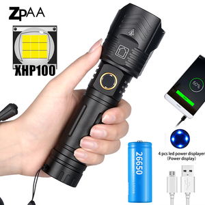 Super Bright XHP100 XHP 90.2 Powerful Flashlight Rechargeable LED Hand Lamp USB Torch 26650/18650 Zoom Tactical Flash Light
