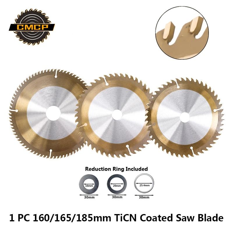 1 pieza TCT 160mm 165mm 185mm hoja de sierra para madera TiCN recubierto hoja de sierra Circular 24/40/48/80T disco de corte disco de carburo