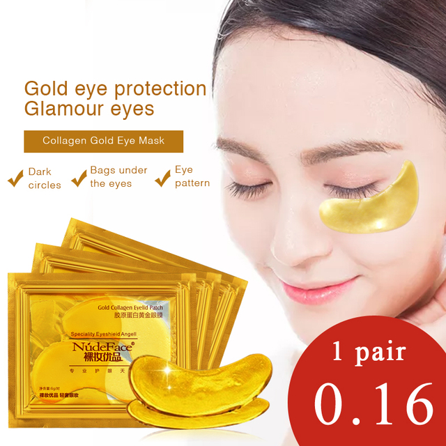 cosmetics collagen eye patches Mask skin care 24k Gold Crystal Eye Patch Colageno Gel Eye Pads eye patches mask 2