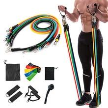 17 adet/takım lateks direnç bantları Yoga çekme halatı genişletici Fitness ekipmanları elastik bantlar Fitness egzersiz için damla nakliye
