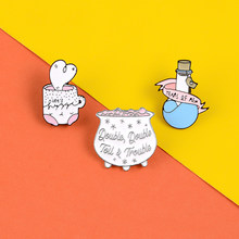 Magic potion enamel pins Kawaii Pink white cups badges brooches lapel pin Clothes bag hat Sweet Jewelry gifts for women(China)
