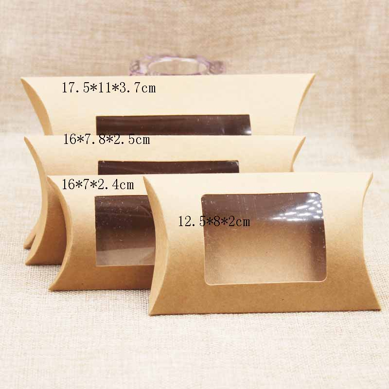 10pc 16*7*2.4cm brown/white/black cardboard pillow window box with clear pvc for proucts/gifts/favors/display packing show 4