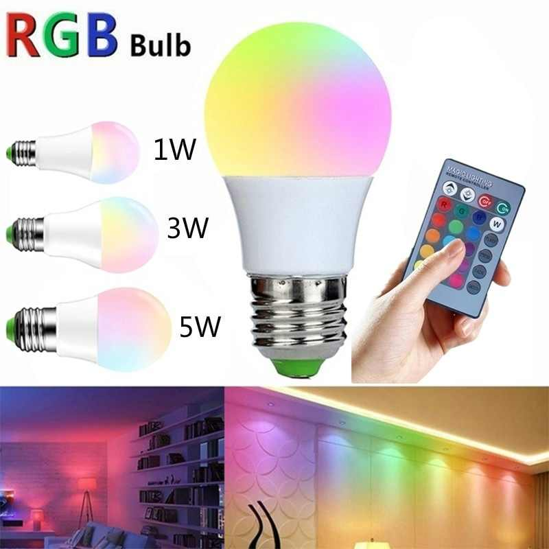 LED Lamp 1W 3W 5W  RGB LED Bulb USB Lamp Automatic Rotation Colorful Christmas Lighting Night Light Bases Edison bulb