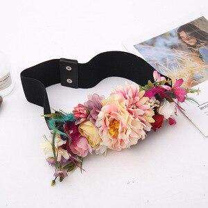Image 5 - 2018 Red Flower Elastic Waist Belt For Women Fashion Beach Floral Forest Dress Belts Strap Girls Ladies Fabric Waistband Belts