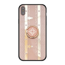 Funda para iPhone Xs Max Xr X 8 Plus 7 Plus 6 6s Plus con anillo de moda para mujer corona dura cubierta Bling diamante Kickstand Girly(China)