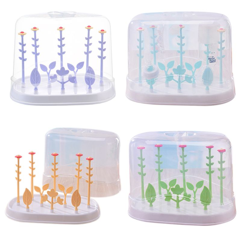 Flower Type Multifunctional Baby Bottle Holder Storage Box Drain Rack With Dust Cover Kids Infants Bottles Drying Racks