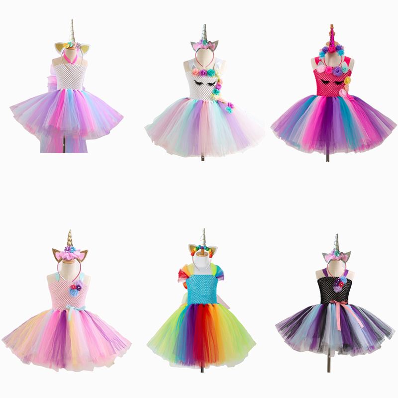 Girls Unicorn Costume Cosplay Kids Unicorn Halloween Costume Birthday Dress For Child Carnival Party Tutu Princess Skirt Outfit