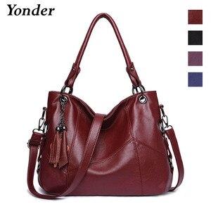 Image 3 - Yonder Большие женские сумки, кожаная сумка на плечо, Женская Большая вместительная Повседневная Сумка тоут, женские сумки высокого качества, сумки через плечо
