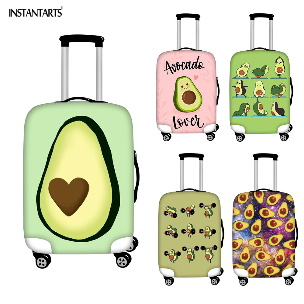 INSTANTARTS Cute Fruit Avocado Printing Luggage Cover Apply To 18-30 Inch Travel Suitcase Waterproof Thick Protective Covers