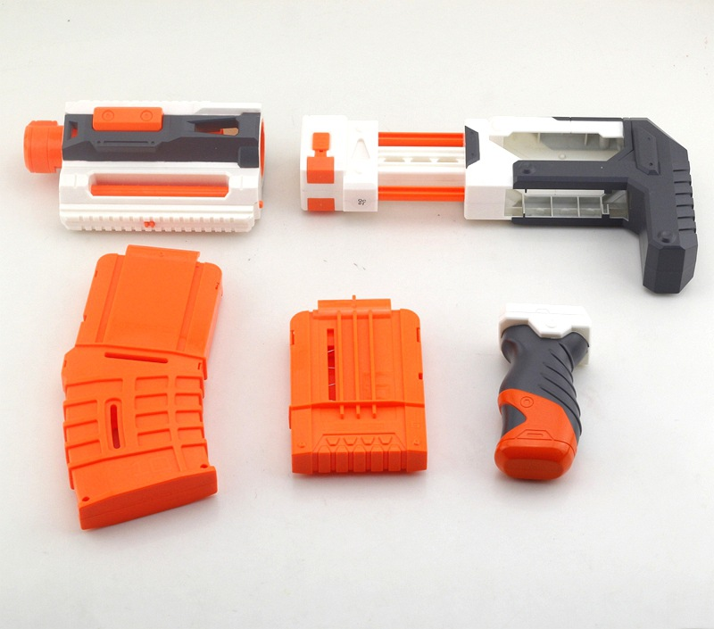 4 Piece Soft Gun Accessories Handle Stock Muffler Flashlight Bracket Normal Parts For Nerf Gun Toy Paintball Accessories