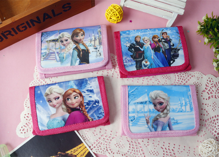Disney New Cartoon Frozen Princess 95 Car Children Short Cute Wallets Toy Handbags Primary School Gift Coin Purses  Hand Bags