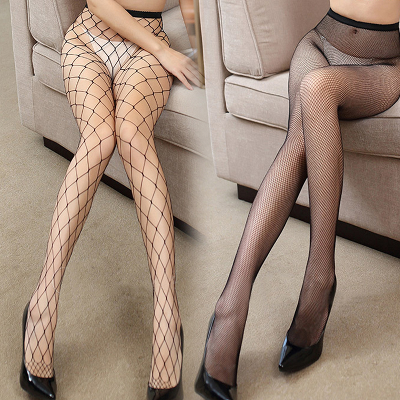 Women Sexy Transparent Slim Fishnet Pantyhose Club Party Net Holes Black Tights Thigh High Stockings Small/Middle/Big Mesh