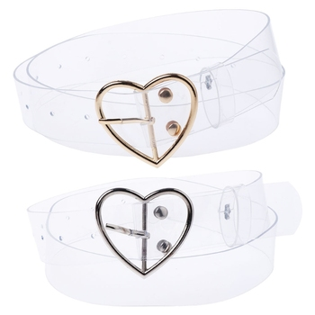 Women Transparent Belt Heart Shape Belt Buckle Invisible Clear Waist Belt