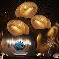Fatti a mano di Bambù Lampada di Vimini Rattan Onda Ombra Luce Del Pendente Dell'annata Lampada A Sospensione Sospensione Giapponese Casa Coperta Da Pranzo Tavolo Da Pranzo
