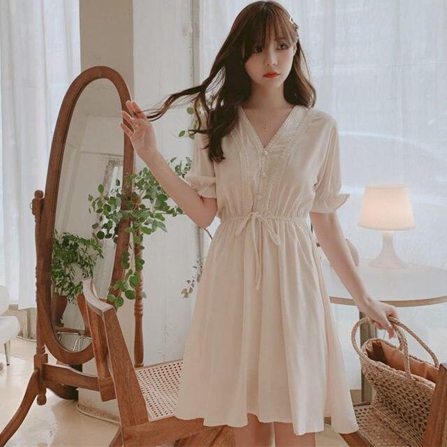 New New Lace up Summer Dress Girls Boho Party Chiffon Female Vintage Dress white Short Sleeve Women Dresses Robe Vestido 1