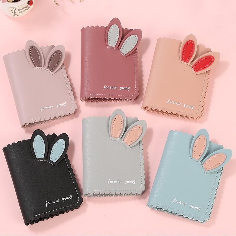 2019 New Kawaii Women Wallets Lovely Rabbit Card Holder Small Wallet Women's Short Design Purse Girls Wallet Cash Holder