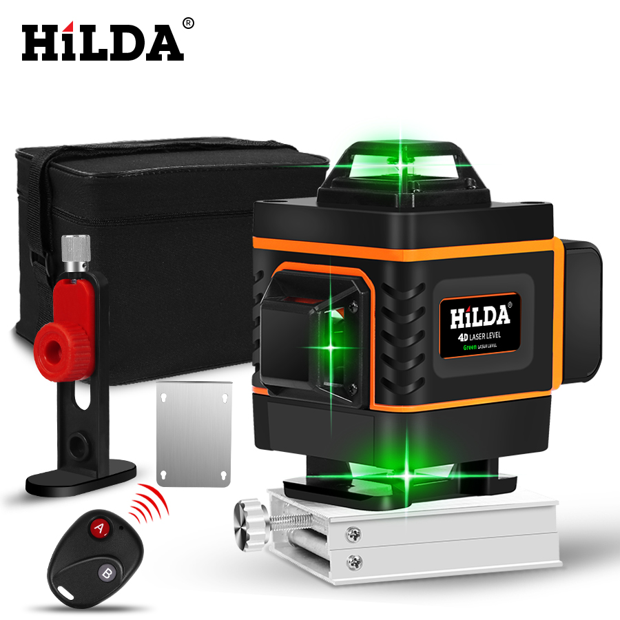 HILDA 16 Lines 4D Self Leveling Laser Level with Buzzing Alarm for Indoor and Outdoor Use 1