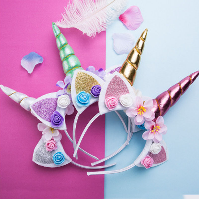Girls Flower Cat Ears Cute Unicorn Headbands Children Headwear Photo Props Party Hair Hoop Hairbands Kids Hair Accessories