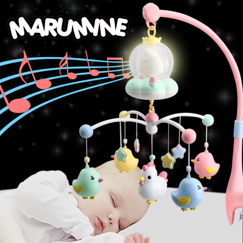 Marumine Baby Crib Mobile Toy With Night Light & Music Touch Buttons Bed Bell Holder Rattles For 0-12 Months Newborn Boys Girls