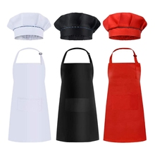 6 Pcs Kids Aprons and Hats Set Children Chef Aprons for Cooking Baking Painting Aprons