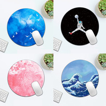 Round Celestial Mouse Pad Soft Mat For Game Computer Cap Desk Mat Non-Slip Rubber Waterproof Office Marble Astronaut Mouse Pad