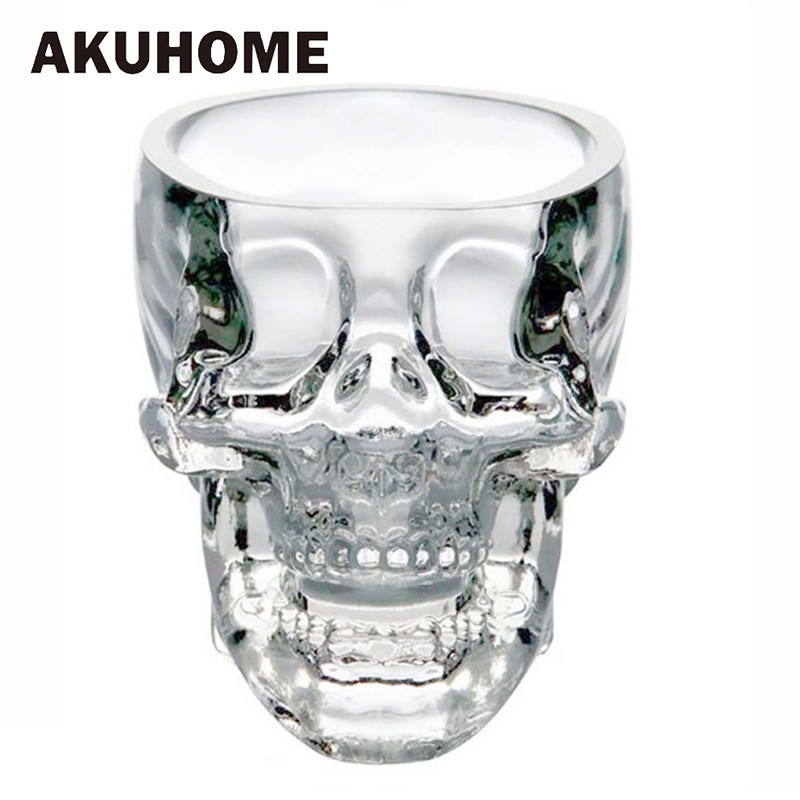 2cps 3pcs 4pcs 4 Size Crystal Skull Head Shot Glass Cup for Whiskey Wine Vodka Transparent Home Drinking Ware Man Gift Cup