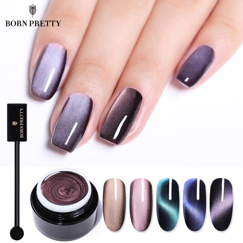 BORN PRETTY 5D Cat Eye Nail Gel 5ml Magnetic Soak Off UV Gel Lacquers Sparkly Sky Jade Effect Varnish Black Base Needed