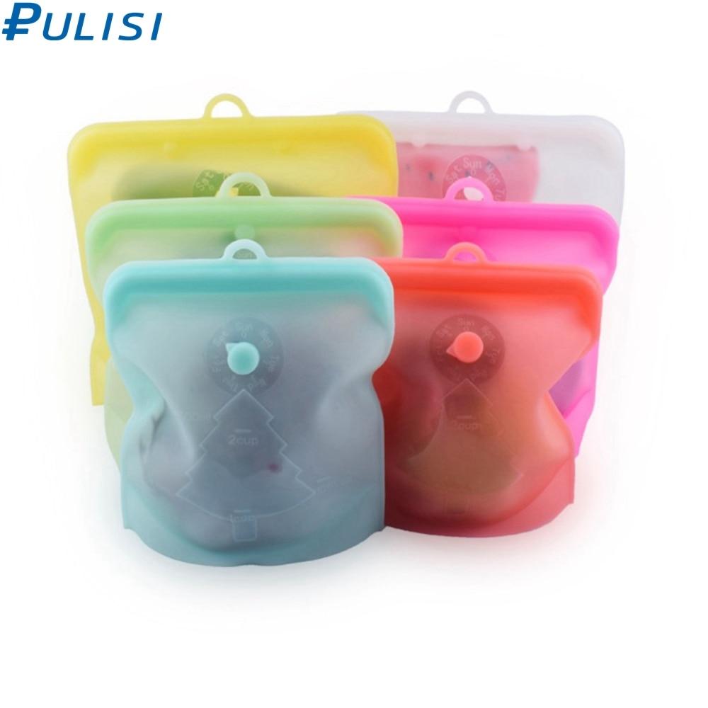 PULISI Silicone Reusable Food Bag 1500ml 1000ml 500ml Leakproof Containers Reusable Fresh Bag Food Storage Bag Freezer Bag Snack