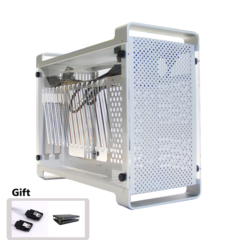 Aluminum ITX Case Side Transparent Mini Cooling Case Computer Case Desktop Supports SFX Power Supply