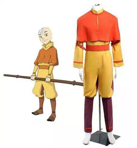 Movie Avatar The Last Airbender  Avatar Aang Cosplay Costume Uniform Halloween Costume For Men Adults Can Custom Made