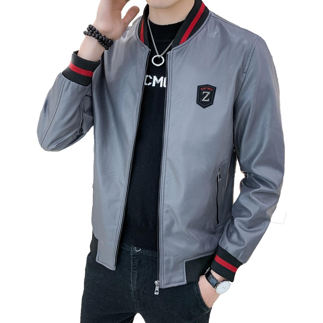 Jacket Winter PU of Slim for Men A521-8362 Made Men's